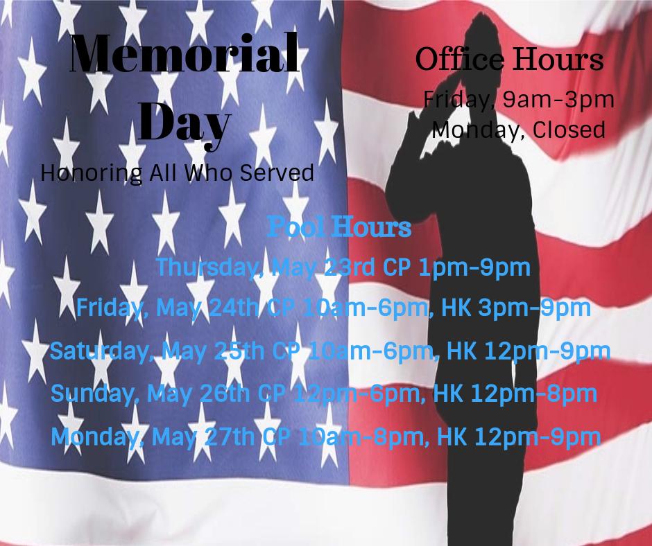 Memorial Day Weekend Information