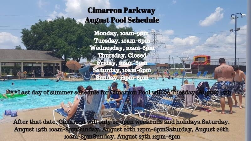 August Pool Schedule