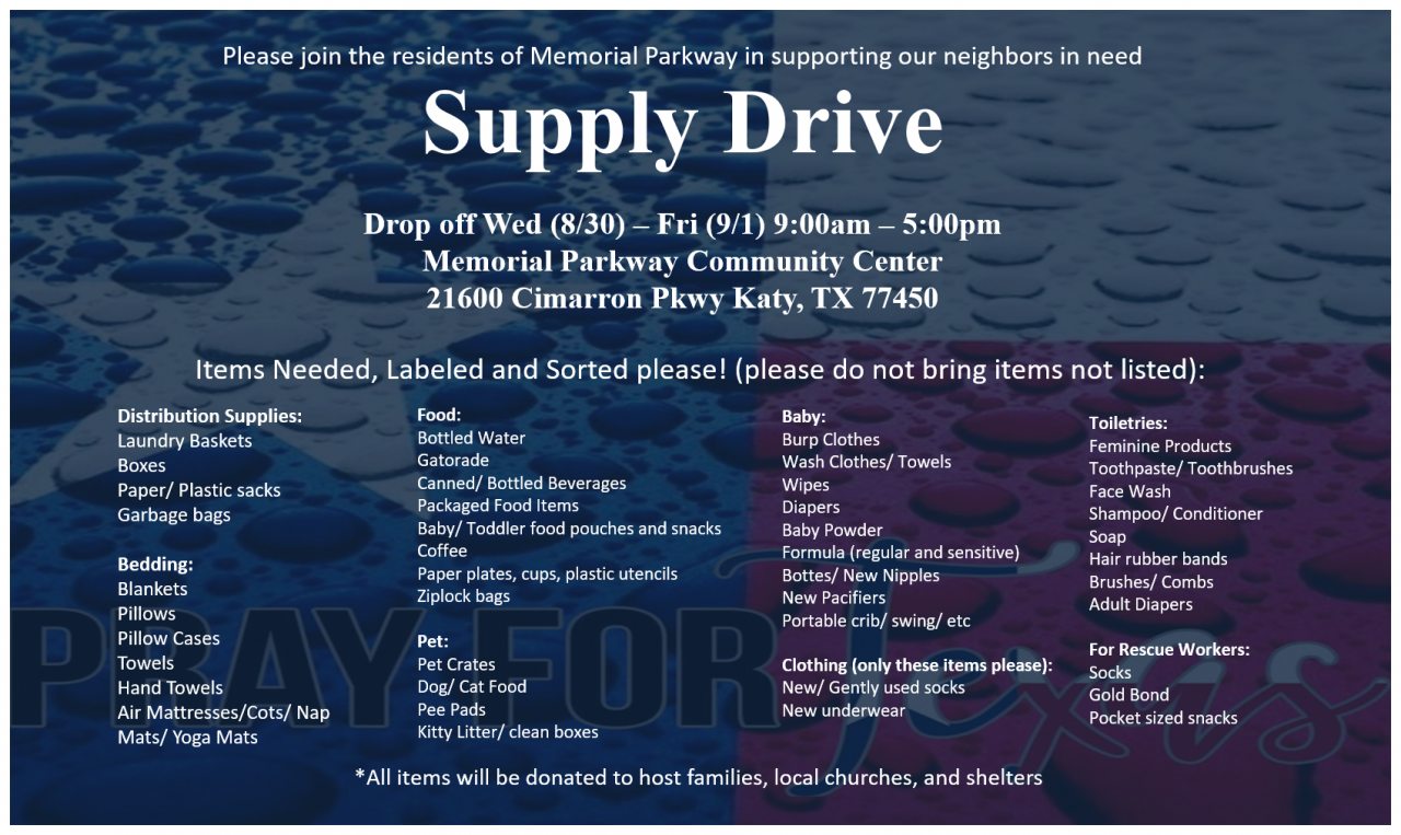 Memorial Parkway Donation Drive