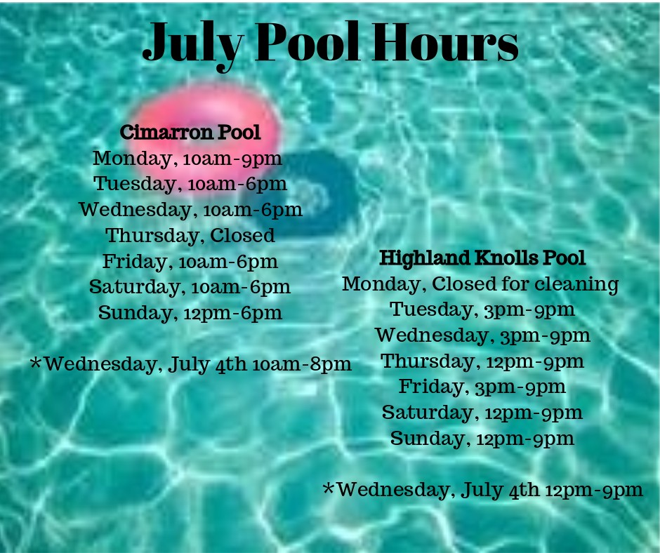 July Pool Hours