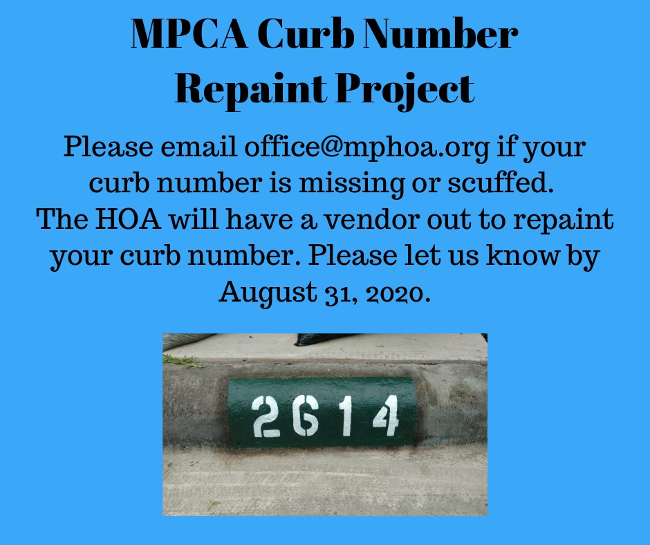 MPCA Curb Number Repaint Project