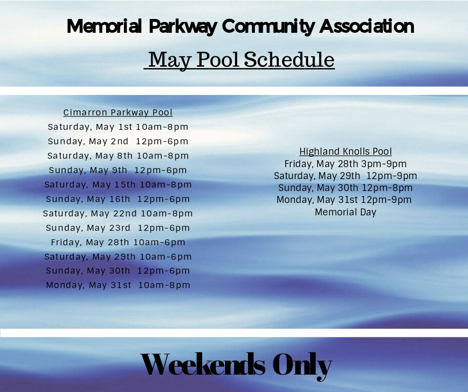 May 2021 Pool Schedule