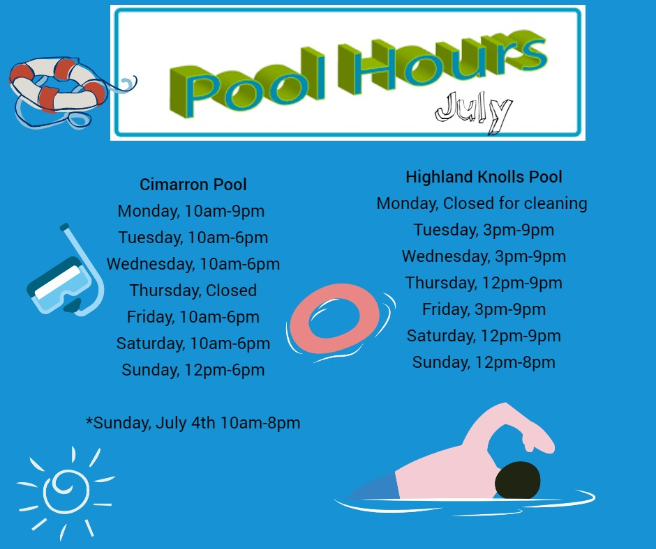 Pool Hours for the Month of July