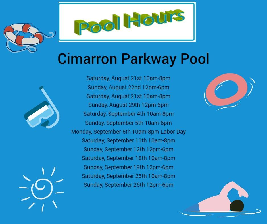 End of Season Pool Hours