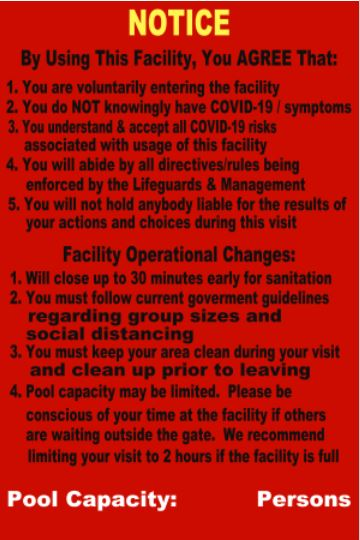 Sample COVID 19 Facility Sign